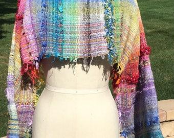 Handwoven Saori long sleeve crop top