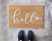 Doormat- Welcome Mat, Hello Welcome Mat, Custom Gift, Hand lettered, Housewarming Gift, Cute Doormat, Custom Doormat, mothers day gift