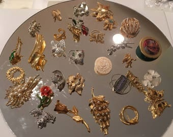 Large Lot of 30 Vintage to Newer Brooches