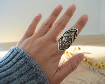 Long Antique Silver AZTEC STYLE Ring, Boho Silver Statement Ring, Long Antique Silver Statement Adjustable Ring, Affordable Ring, Ring Candy