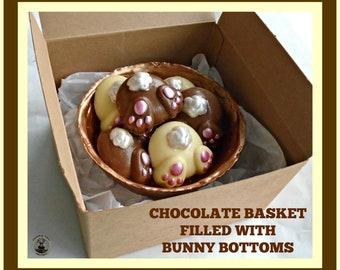 Chocolate Bunny Bottom Basket/Butt/Cute Easter Gift/Fun Rabbit/Quirky/Unusual/Special/Kid/children/Boy/Girl/Child/Son/Daughter/Grandchildren