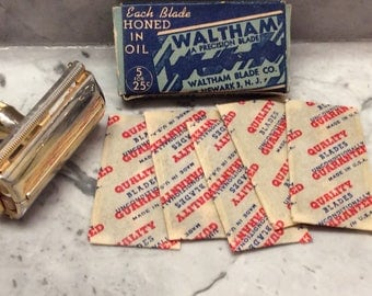 Vintage Waltham precision blade complete box of 5 Surgical steel for hand shaving razor