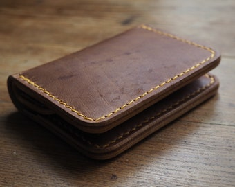 Leather wallet, Horween natural Dublin leather wallet, bi fold wallet, edc, minimalist wallet, leather card holder, leather gift