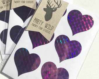 Heart Stickers Pk24 - Holographic Purple