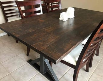 Modern Industrial Table with Metal X Base
