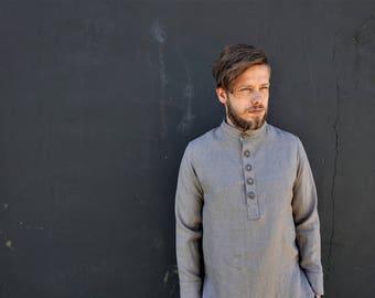 Linen shirt - Linen mens shirt - softened - natural linen - men shirt - gray linen - summer shirt - size XS