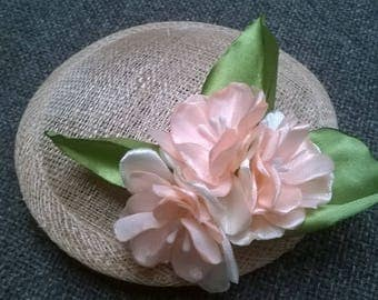 Headdress with flowers of satin in coral color. Ribbon flowers fascinator, haircomb
