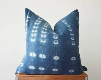 THE TULALIP African Indigo Mud Cloth Square Pillow Cover