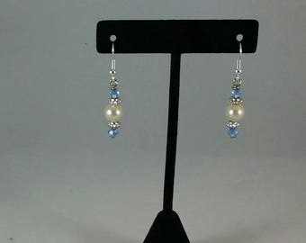 Handmade Earrings blue and  pearl beads