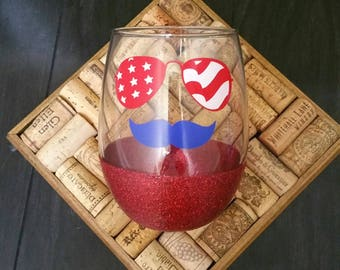 wine glass, 4th of July, stemless wine glass, red white and blue, patriotic, wine glasses, cute wine glass, wine, glitter, independence day