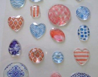 18 stickers diamonds rhinestones embossed stickers