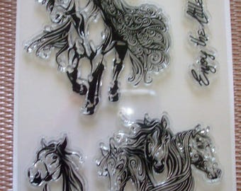 Clear stamps, horse rider silicone stamp plate
