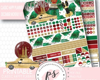 Christmas in NYC December Monthly View Kit Printable Planner Stickers (for use with Classic Happy Planner) | JPG/PDF/Silhouette Cut File