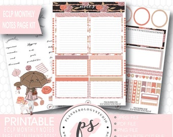 Blushing Rose Monthly Notes Page Kit Printable Planner Stickers (for Erin Condren ECLP) | JPG/PDF/Silhouette Cut File