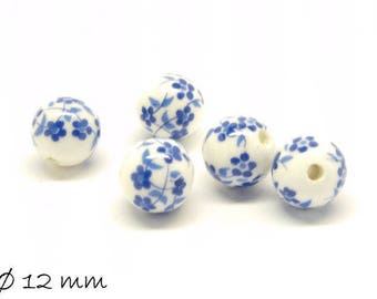 10pcs porcelain beads Ø 12 mm white blue flowers flowers