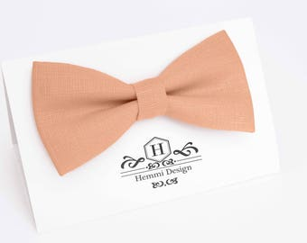 Peach Bow Tie For Wedding / Peach Bow tie for groomsmen / Boy's, Toddler's, Baby's, Men's, Linen Bow Tie With Pocket Square