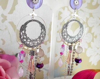 Earring clip Alhambra Mauve (made in France)