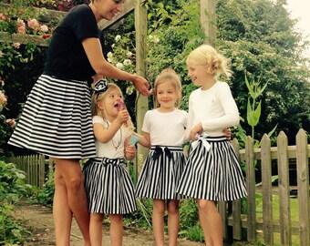 Girls stripy skirt, handmade, mini mummy
