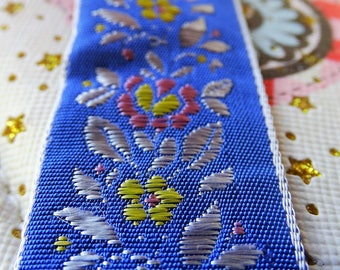 Blue silk ribbon by the yard 5 yards satin ribbon floral silver ribbon trim embroidered ribbon blue lace trim vintage 60s 70s new