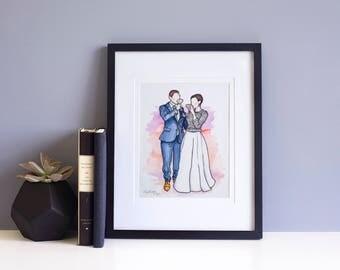 Watercolor Portrait Illustration: Couple - Wedding or Engagement