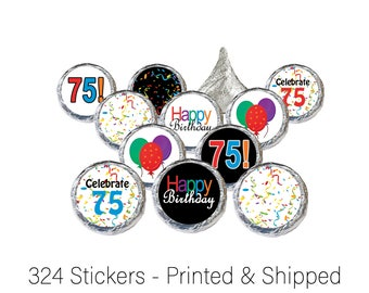75th Birthday Decor Hershey Kiss Stickers - 75th Party Supplies - 75 Table Decoration Party Favors or Envelope Seals - Confetti (Set of 324)