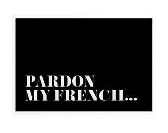 Gratie mijn Frans afdrukbare   Frans citeer woord kunst aan de muur   Scandinavische poster minimale kunstwerk zwart-witte typografie mode kunst afdrukken