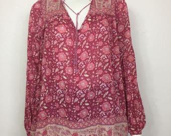 Vtg 70s cotton gauze ethnic india dress shirt top pink small