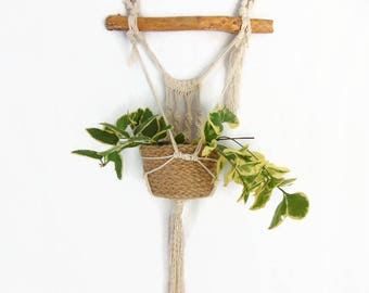 Macrame wall hanging wall planter with wooden rod, cache-pot rope, macrame by Pleasant Home decor