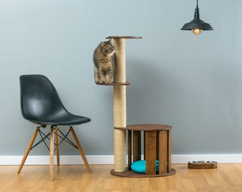 Cat house with sisal tree Cletis Brown | WORLDWIDE SHIPPING | Modern Cat Furniture | Climb Tree | Shelf | Toy | Bed | House | Tower