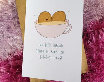 KISSING Biscuits. (Greeting card partner, husband, wife, girlfriend, boyfriend, friend who likes a biscuit and a giggle!)