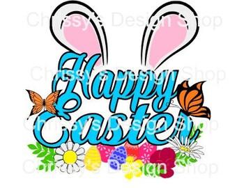 Happy Easter bunny ears floral svg / easter butterflies svg / butterfly svg / spring svg / dxf /eps / easter floral svg / svg cut file