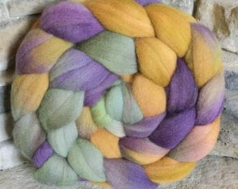 19 micron Merino Hand Painted Combed Top - Spinning Fiber -Feltable - approx. 4 ounces each - PURPLE SAGE