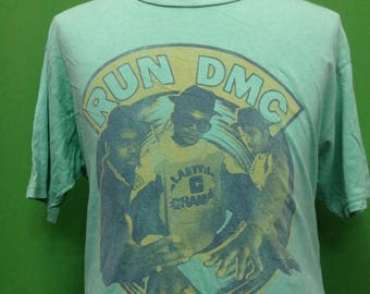 Sale 10% Rare RUN DMC It's Tricky 1986 song title Large size tshirt Made in USA
