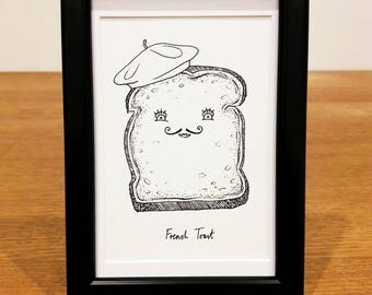 French Toast Print - toast/beret/funny/food pun/cute/illustration/handmade/wall art