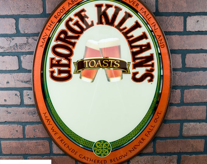 Killian's Beer Sign | Irish Red Mirror | Irish Red Beer Sign | George Killian Toast | Oval Beer Mirror | Oval Beer Sign