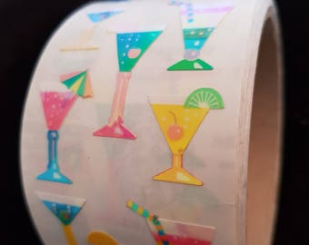 Plastic sticker roll with 50 breaks COCKTAIL