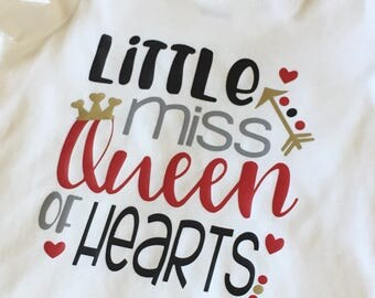 Little miss queen of hearts Valentine's Day baby girl bodysuit toddler tshirt