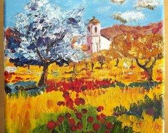 Little Landscape. landscape oil painting. Colorful painting