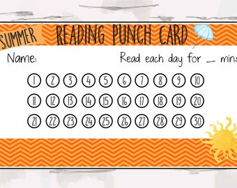 Summer Reading Punch Card, Reward Punch Card, Reward Chart, Summer Reading Program, Instant download, pdf