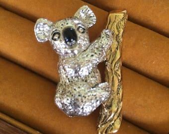Vintage Napier Koala Bear Brooch Koala Bear Pin Signed Napier Collectable Bear Jewelry Collectable Napier Eighties Chic Brooch