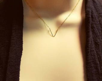 Dainty 14 kt gold filled chevron necklace