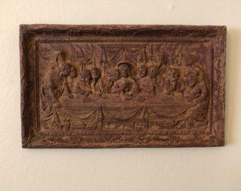 Lords Supper Religious Wall Art Burwood Plaque Wood Decor Rustic