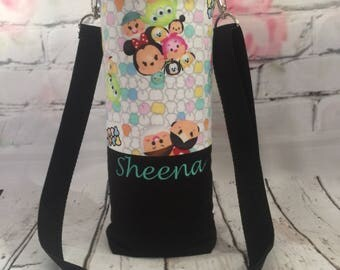 Personalized hydro flask holder / hydro flask carrier / hydro flask sleeve with detachable and adjustable strap - tsum tsum