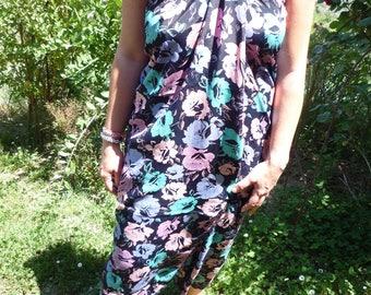 Black cotton flower print sarong dress