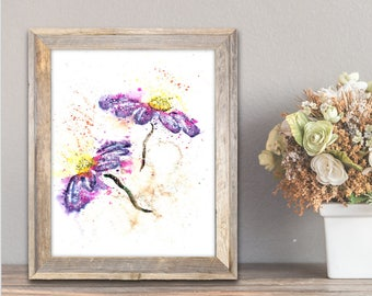 Purple Watercolor, Purple Flower, Purple Flower Watercolor, Flower Painting, Purple Flower Painting, Contemporary Art, Flower Wall Art Print
