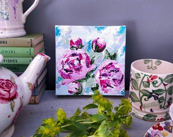 "Peonies. Original Acrylic painting on canvas. She measures 6"" square."