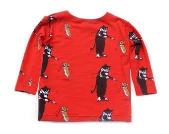 Long sleeve dancing cat & mouse t-shirt