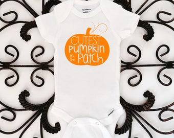 cutest pumpkin in the patch onesie, pumpkin onesie, fall onesie, halloween onesie