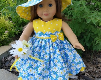 Daisies and Dots a darling dress for 18 inch dolls such as American Girl and others