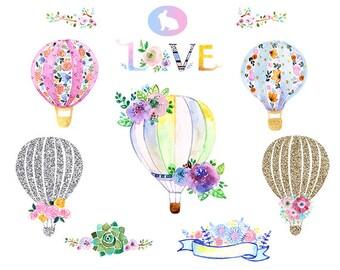 Watercolor hot Air Balloons Clipart. watercolor Flower clipart. Vintage Balloon clipart. balloon clipart. hot Balloons Clipart.